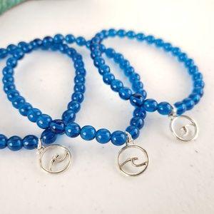 Caribbean Blue Czech Glass Wave Charm Bracelet